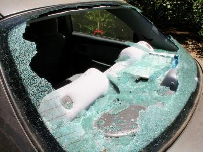 damaged rear windscreen